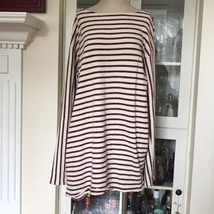 Free People Maroon Striped Tunic Dress Pockets